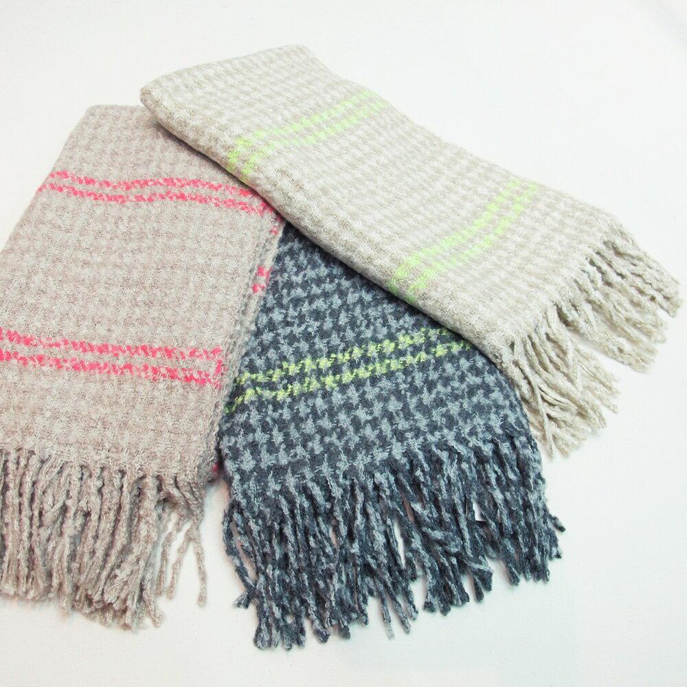 螢光條紋柔感圍巾
