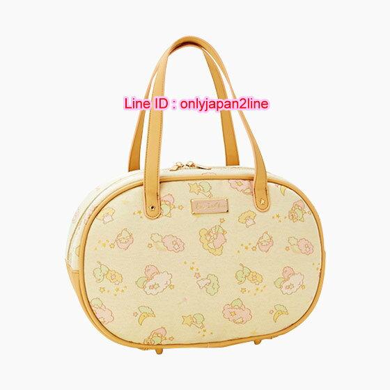 【真愛日本】16112500014  波士頓提包-TS滿版雲朵黃 三麗鷗家族 Kikilala 雙子星  斜背包 手提包