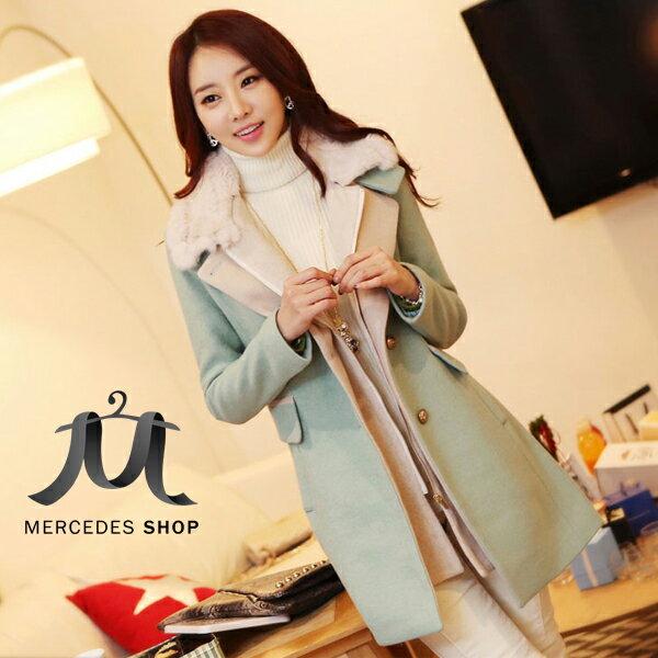 《全店75折》東大門兔毛領假兩件中長款毛呢外套(S-XL,2色)-梅西蒂絲(現貨+預購)