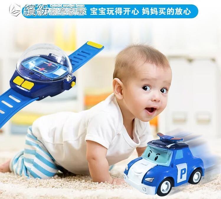 遙控玩具 抖音同款手表遙控車社會人遙控警車珀利安巴兒童玩具車手表小汽車