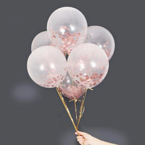 12吋亮片紙氣球(5入)透明乳膠氣球(28cm)婚禮氣球紙片氣球大氣球空飄氣球【塔克】