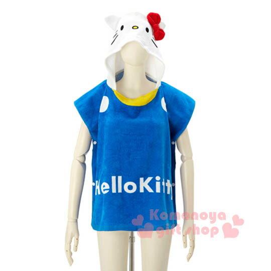 〔小禮堂〕Kitty 兒童造型連帽浴巾《藍.大臉.LOGO》60x60cm
