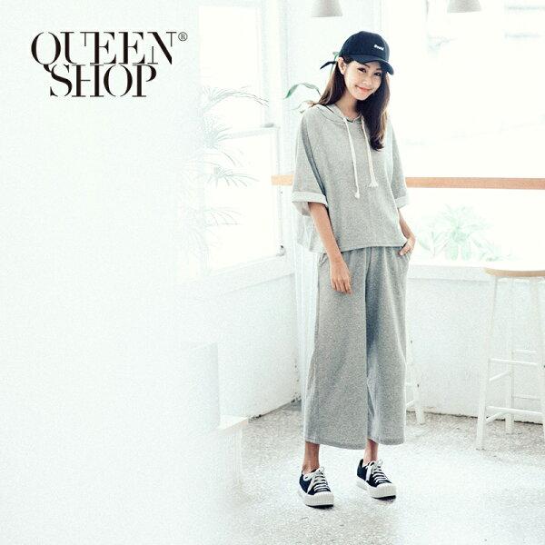 QueenShop【01084009】休閒基本百搭抽繩連帽套裝兩色售*預購*