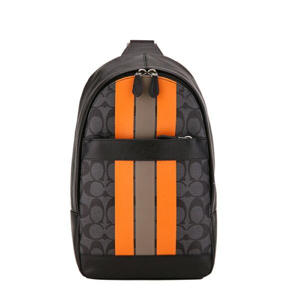 COACHF72353男士PVC配皮单肩斜跨条纹男包胸包旅行包