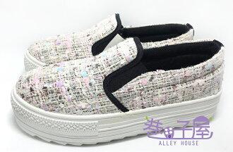 【巷子屋】吉梵尼梵侖鐵諾 女款毛呢厚底懶人鞋/樂福鞋 4cm [8216] 米色 MIT台灣製造 超值價$198