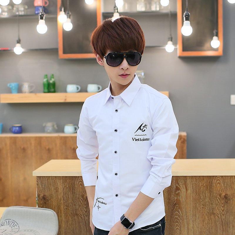 白色長袖襯衫男士修身型時尚純色襯衣潮男裝休閑衣服寸衫1入