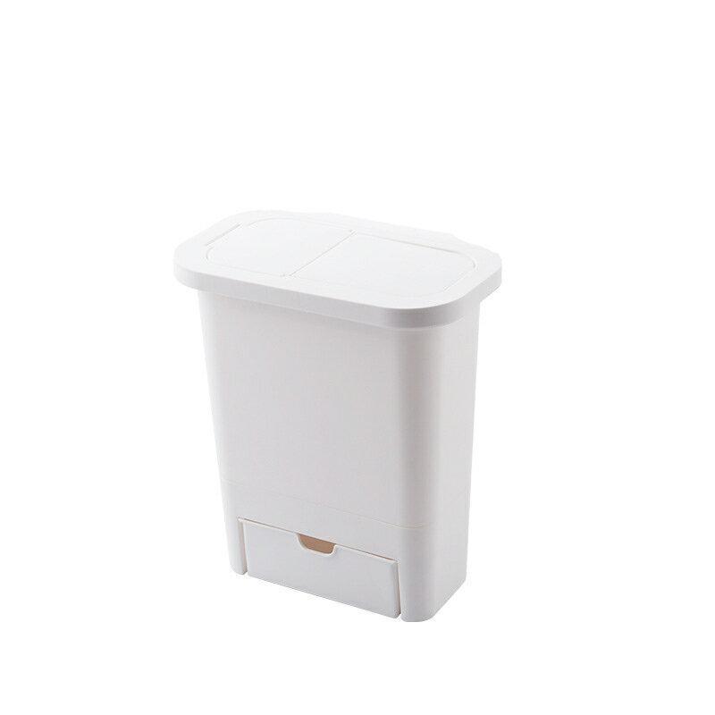 掛式櫥櫃帶蓋垃圾桶 免彎腰推蓋懸掛雜物收納桶 防臭隱藏抽屜回收箱 分類垃圾筒廚餘桶廚房用具【BF0601】【618年中慶 】《約翰家庭百貨