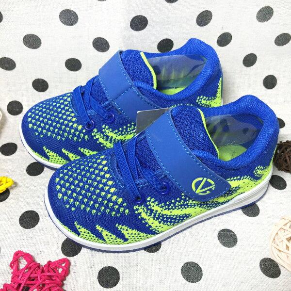 【巷子屋】童款編織造型透氣運動休閒鞋[5091]藍綠MIT台灣製造超值價$200