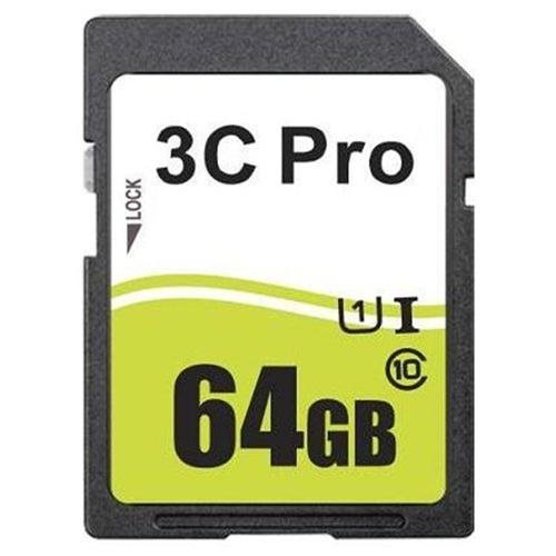 3C Pro 64GB SDXC 64GB SDHC 64G SD Card Class 10 Ultra High Speed UHS-1 UHS-I for Camera & Camcorder 0