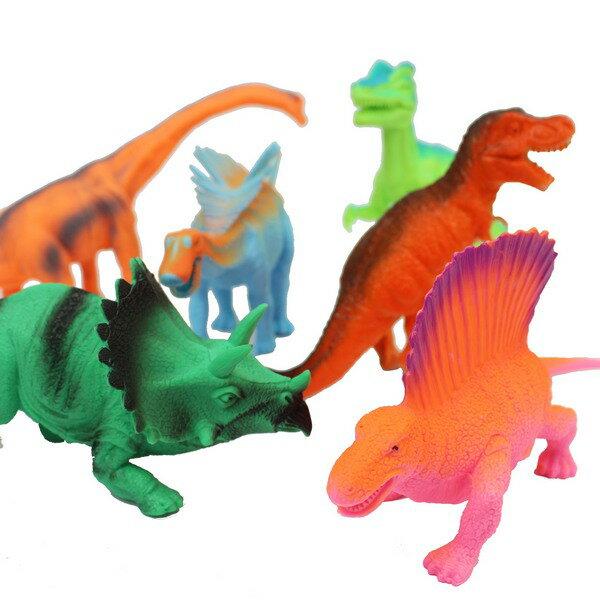 大6隻入恐龍公仔 (螢光色)1641 仿真恐龍模型/一袋入{促299} 軟質空心 侏羅紀恐龍玩具~ST安全玩具~創H-6941
