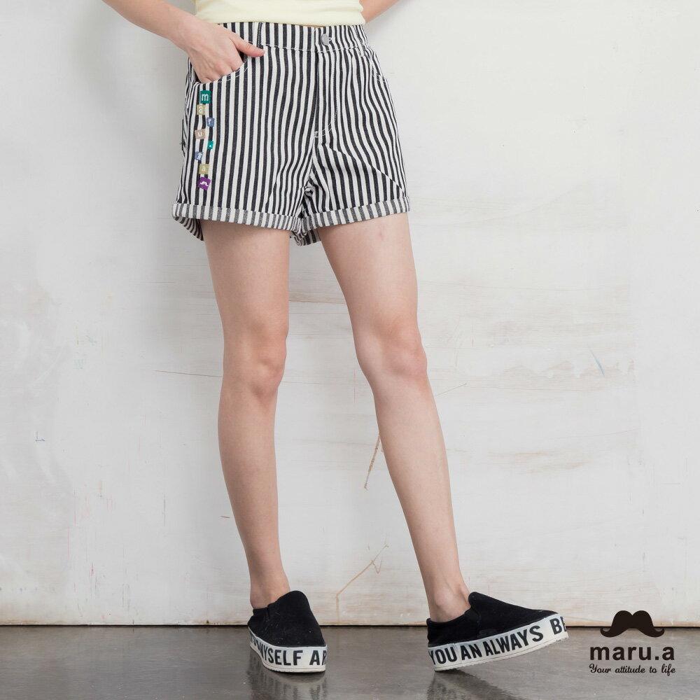 【maru.a】彩色方塊刺繡直條紋短褲(2色)7925112 3