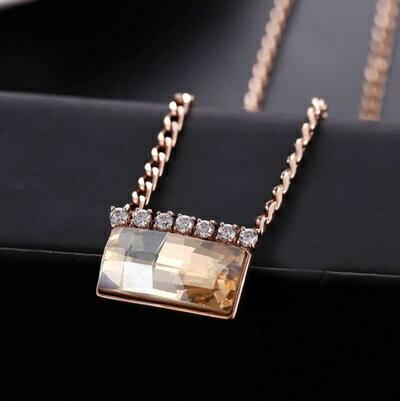 ~玫瑰金項鍊 水晶純銀吊墜~精緻鑲鑽方形 情人節生日 女飾品2色73dw165~ ~~米蘭