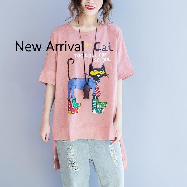 *漂亮小媽咪*貓咪印花加大寬鬆開岔長版上衣文藝棉T恤中袖上衣孕婦裝C1775