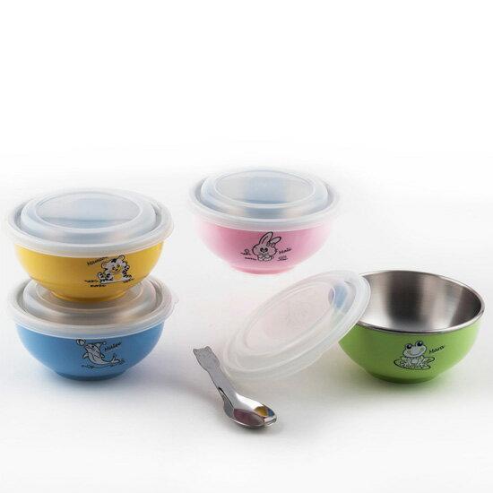 【斑馬ZEBRA】頂級#304不鏽鋼250ml兒童碗組(含湯匙+保鮮蓋)X三入組