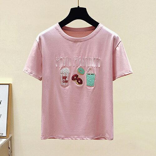 *ORead*韓版短袖圓領大碼亮片刺繡T恤(2色S~XL) 0