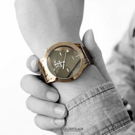 手錶 簡約立體透明三角造型皮革腕錶 獨特鏤空設計中性款 禮物首選 柒彩年代【NE1544】