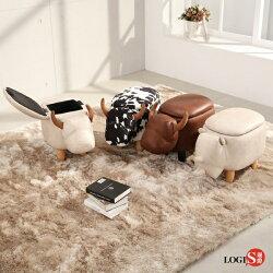 邏爵LOGIS迷你牛動物儲物收納凳 實木四腳椅 可愛造形椅 整理箱 矮凳兒童椅 AD01Z