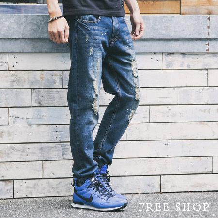Free Shop【QM1379】休閒潮流感破壞波漆Jogging Pants單寧牛仔褲縮口褲慢跑束口褲 藍色