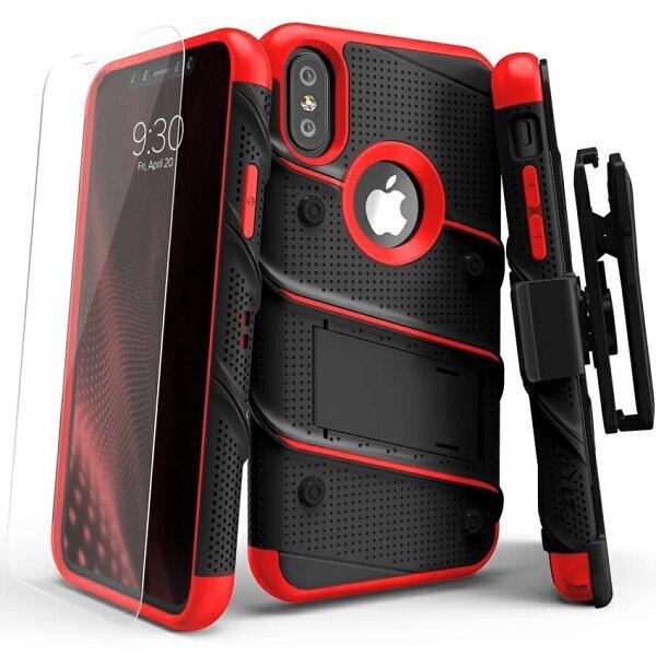貝殼嚴選:【貝殼】ZizoBolt軍規防摔殼iPhoneXiX手機殼保護殼紅黑(加贈9H玻璃保護貼)