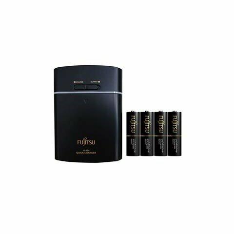 *╯新風尚潮流╭* Fujitsu富士通 USB充電器 含三號四入 鎳氫充電電池 黑 FSC341FX-B-FX-TW