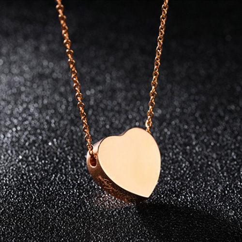 《 QBOX 》FASHION 飾品【C100N1253】精緻秀氣立體愛心香水玫瑰金鈦鋼墬子項鍊