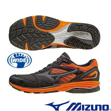 J1GA168209(黑X灰X橘) WAVE AMULET 7 WIDE 支撐型寬楦路跑鞋 A【美津濃MIZUNO】