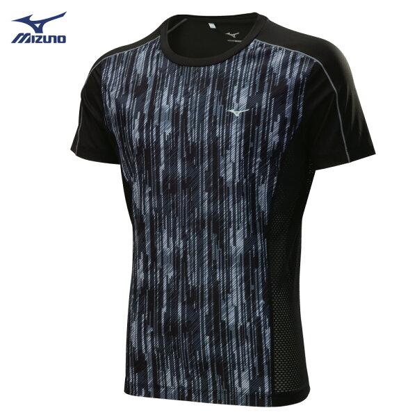 K2TA800109(黑紋)吸汗快乾彈性材質短袖緊身衣【美津濃MIZUNO】【樂天會員限定