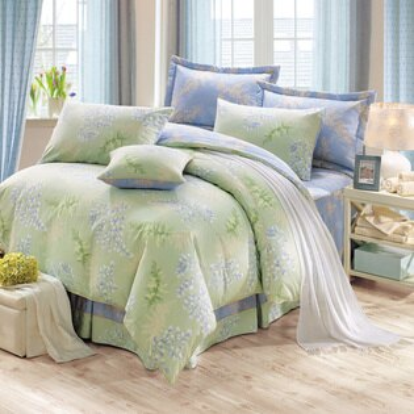 床罩組300織精梳棉七件式雙人兩用被加大床罩組葛菈芙綠美國棉授權品牌[鴻宇]台灣製2028