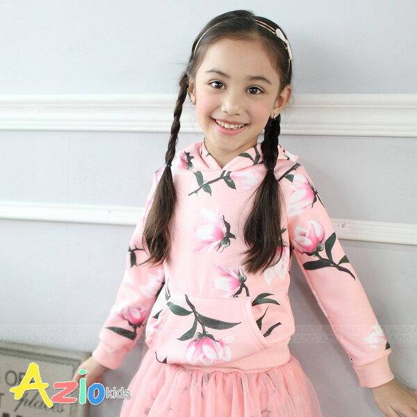 Azio Kids美國派:《美國派童裝》加厚帽T不倒絨滿版典雅花朵帽T(粉)