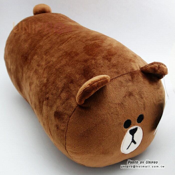 【UNIPRO】LINE FRIENDS 熊大 BROWN 布朗熊 圓柱枕 長形絨毛玩偶 娃娃 抱枕 正版授權
