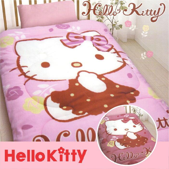~名流寢飾家居館~Hello Kitty.玫瑰園.暖暖被.雙面花色.保暖毛毯被