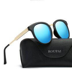 新品復古大圓框太陽眼鏡UV400炫彩偏光鏡黑藍棕銀色豹紋女士墨鏡