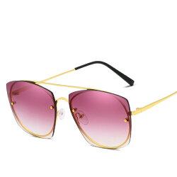 新款 潮流 無框 太陽鏡 女士 漸變色 方框 太陽眼鏡 多色炫彩 海洋片 墨鏡 淺色鏡