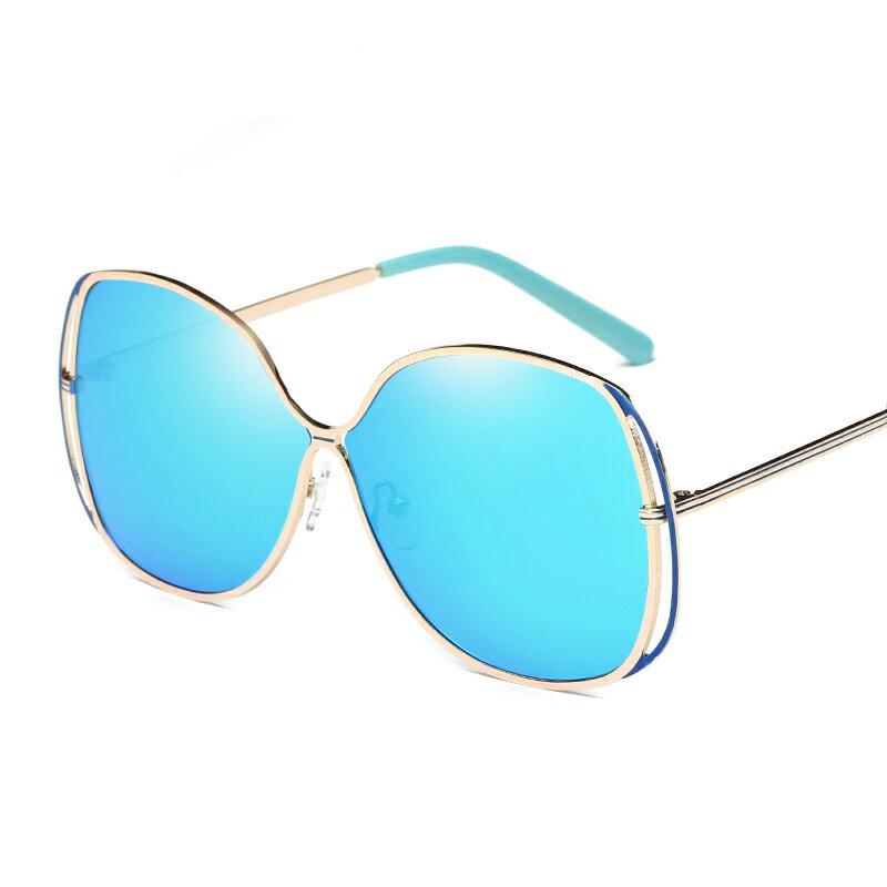 新款金屬大圓框偏光太陽鏡UV400個性炫彩女士墨鏡藍粉銀棕色太陽眼鏡