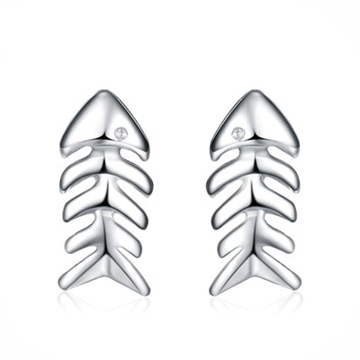 925純銀耳環鑲鑽耳飾~可愛魚骨頭 生日情人節 女飾品73dy126~ ~~米蘭 ~