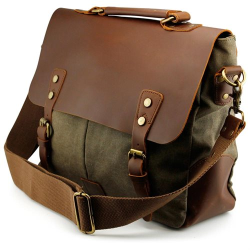 45182cb04b Men s Vintage Canvas Leather Satchel School Military Messenger Shoulder Bag  Travel Bag - Army Green 0