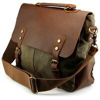 Men's Vintage Canvas Leather Satchel School Military Messenger Shoulder Bag Travel Bag - Army Green