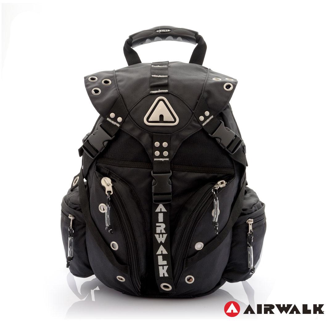 AIRWALK街頭系列-美式潮流三叉釦尼龍後背包(灰)(大容量)