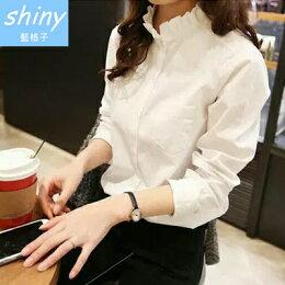 shiny藍格子 純色甜美 寬鬆長袖襯衫上衣