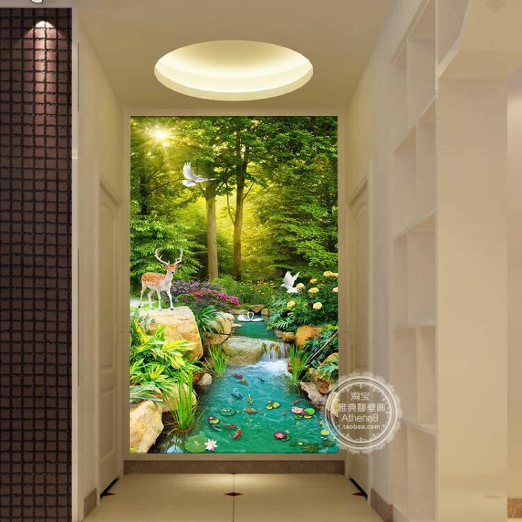 3D立體玄關過道走廊豎版進門墻樹林大自然風景背景墻壁紙壁畫《台北日光》