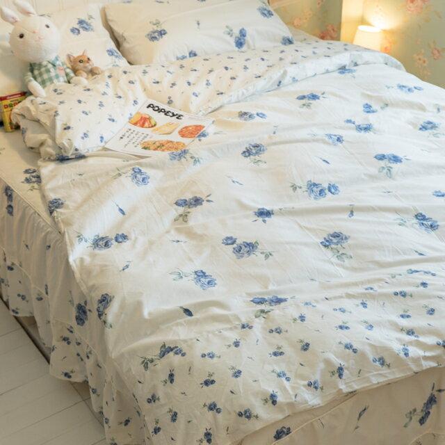 藍莓花園  雙人加大鋪棉床裙三件組 100%精梳棉 台灣製 5