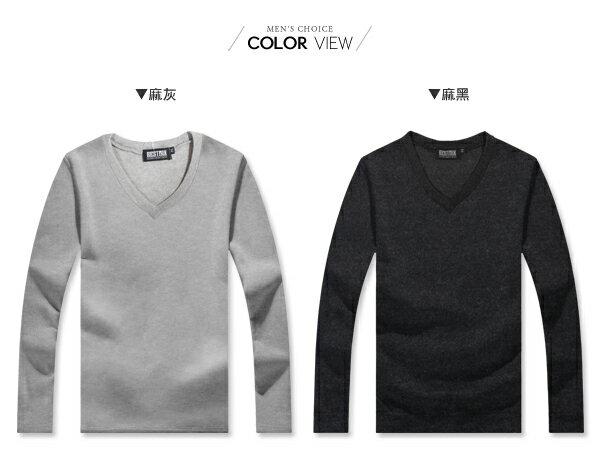 ☆BOY-2☆【ND6222】韓版素面V領針織長T恤 1