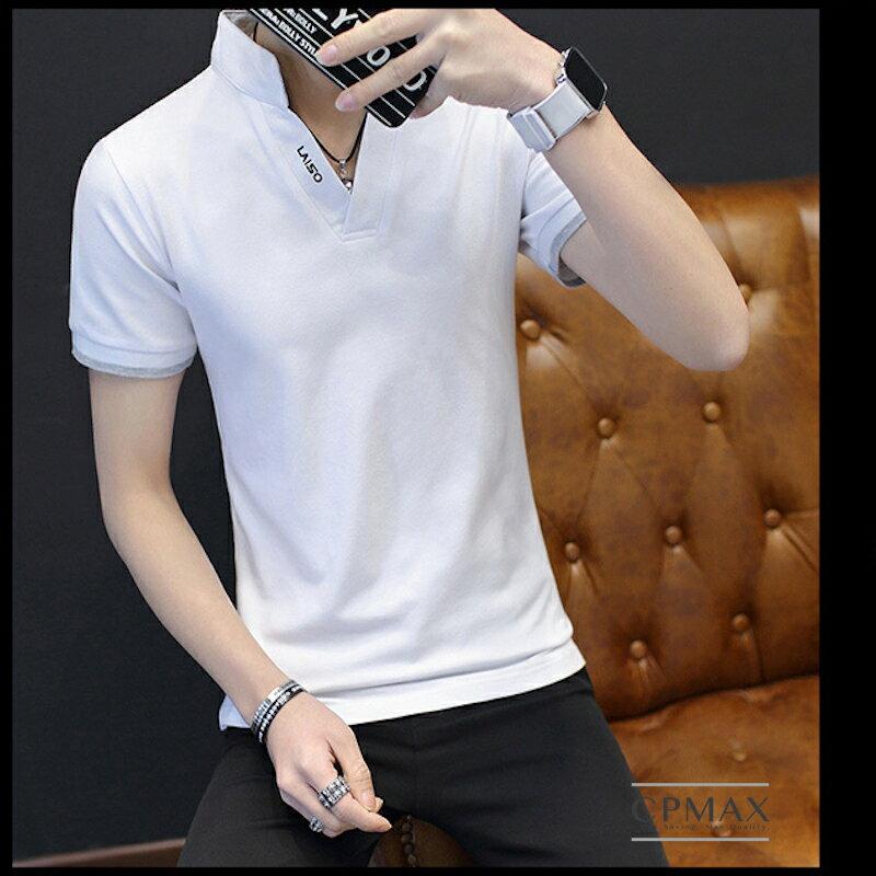 台灣現貨 / 純白立領V字POLO衫 男上衣 男短袖 男POLO 立領POLO V領短袖 短袖上衣 男上衣 白色上衣 T53
