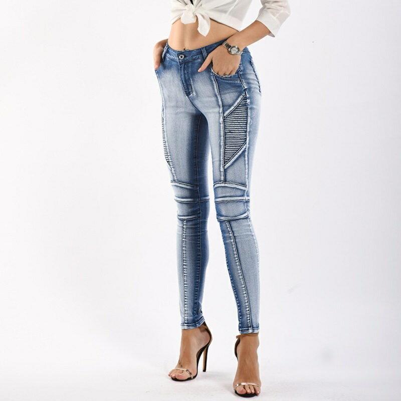 牛仔褲丹寧小腳褲-水洗磨白線條鉛筆褲女長褲73wx8【獨家進口】【米蘭精品】 1