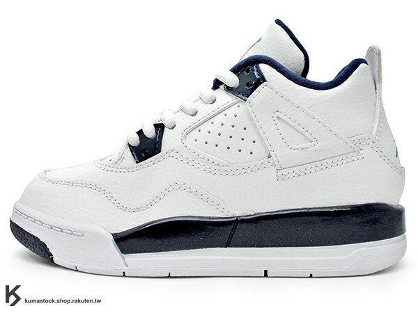 海外入荷 台灣未發售 2015 NIKE JORDAN 4 IV RETRO LS BP PS COLUMBIA 小童鞋 童鞋 白深藍 皮革 AJ 四代 AIR (707430-107) !