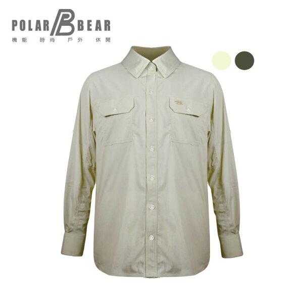 【POLARBEAR】男輕薄抗UV吸濕排汗彈性長袖襯衫