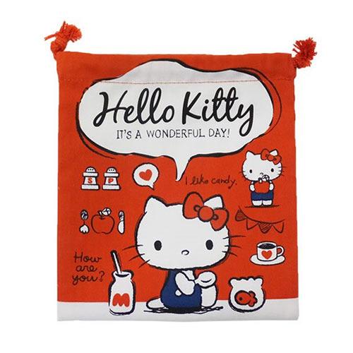 紅色款【日本進口正版】凱蒂貓 HelloKitty 帆布 束口袋 收納袋 抽繩束口袋 三麗鷗 - 424954