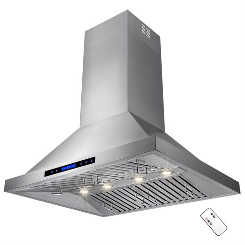 "36"" Stainless Steel Island Mount Range Hood 410 CFM Touch Screen Display Light  Baffle Filter 1"