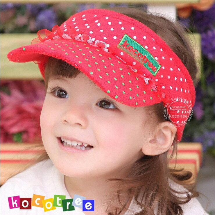 Kocotree◆時尚可愛蕾絲字母點點兒童遮陽帽空頂帽-紅色