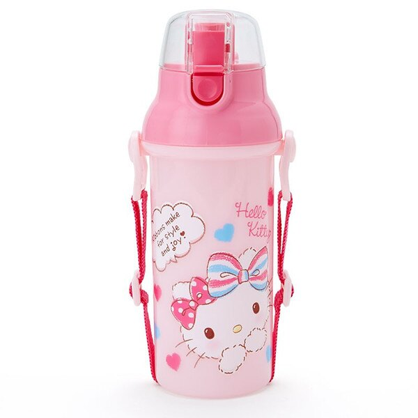 【真愛日本】15121200010 直飲水壺-KT愛心彩結粉 三麗鷗 Hello Kitty 凱蒂貓 水壺 水瓶